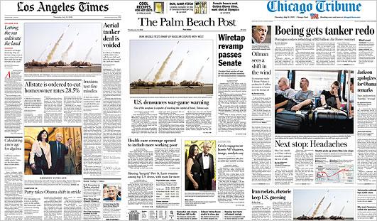Zeitungen mit dem gefälschten Bild